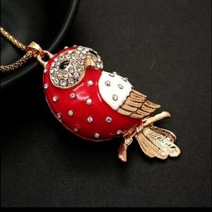 New red owl necklace